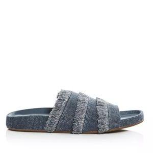 Joie Women's Denim Frayed Slide Sandals